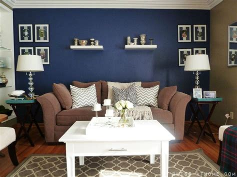 living room wall paint accent blue accent wall living room painting accent walls living rooms navy blue accent wall love how bright and rich it is