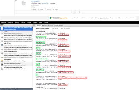 chrome postman file upload in alfresco through postman chrome extension