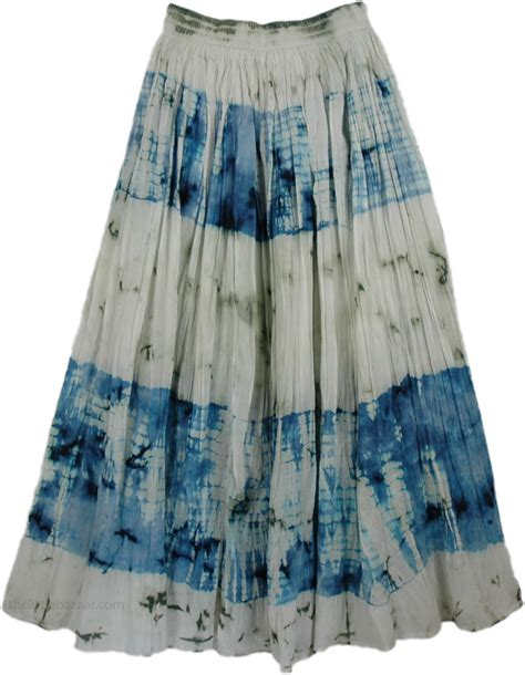 cotton seed blue tie dye skirt clothing white skirts