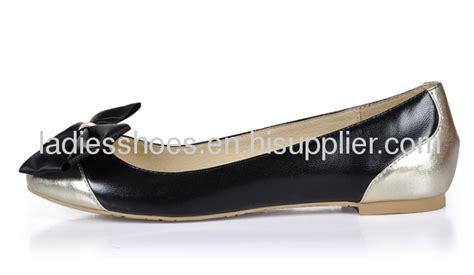 Flatshoes Import Fashion bowtie gold and black flat shoes from china