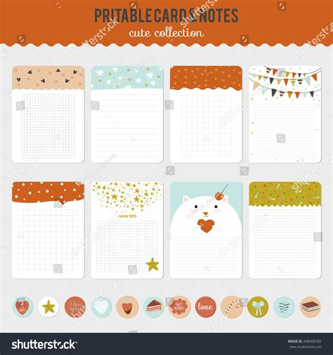 notebook label template collection cards notes stickers stock vector
