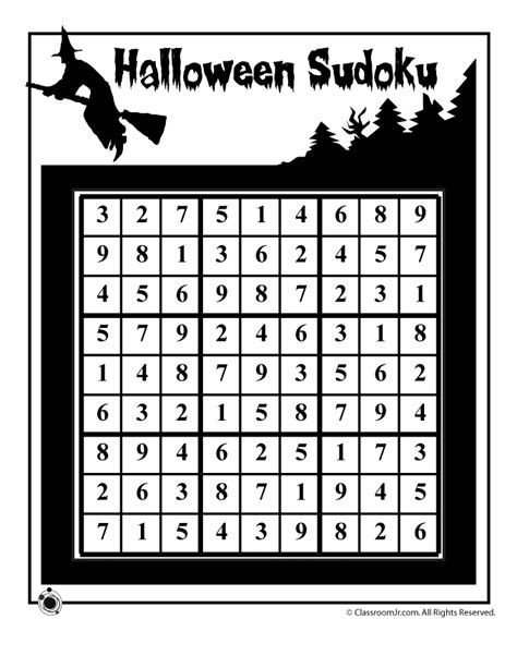 printable halloween sudoku halloween sudoku puzzle 2 answer key woo jr kids