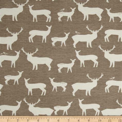 elk pattern fabric birch organic interlock knit elk grove elk family shroom