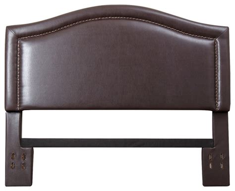 Leather Nailhead Headboard Raleigh Nailhead Trim Brown Leather Headboard Modern Headboards By