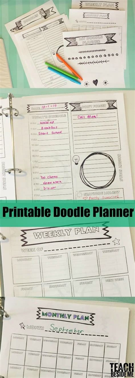 doodle theme free doodle themed printable planner for stress free back to school