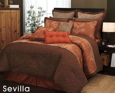 brown queen size comforter sets com 7 pieces traditional orange and brown jacquard