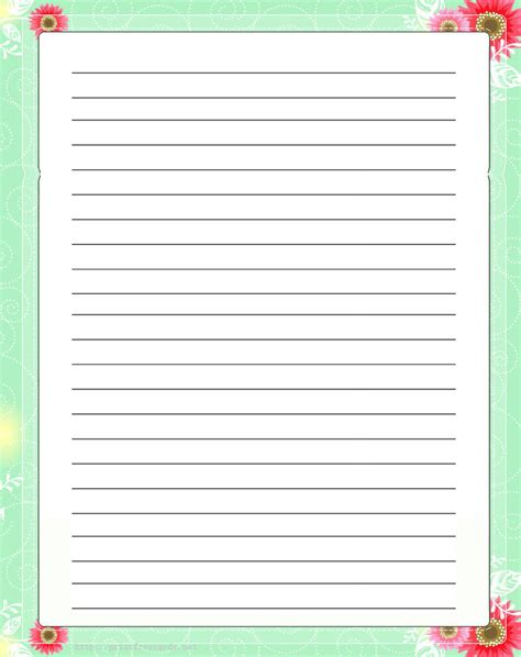 lined paper with plant border best photos of printable lined paper with borders free