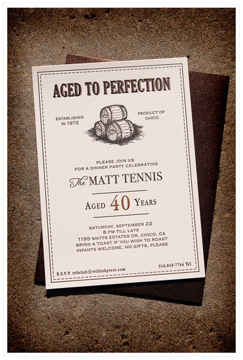Dinner Party Invitations Wild Ink Press Aged To Perfection Invitation Template Free