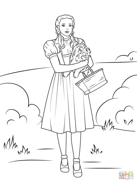Dorothy Holding Toto Coloring Page Free Printable Wizard Of Oz Printable Coloring Pages