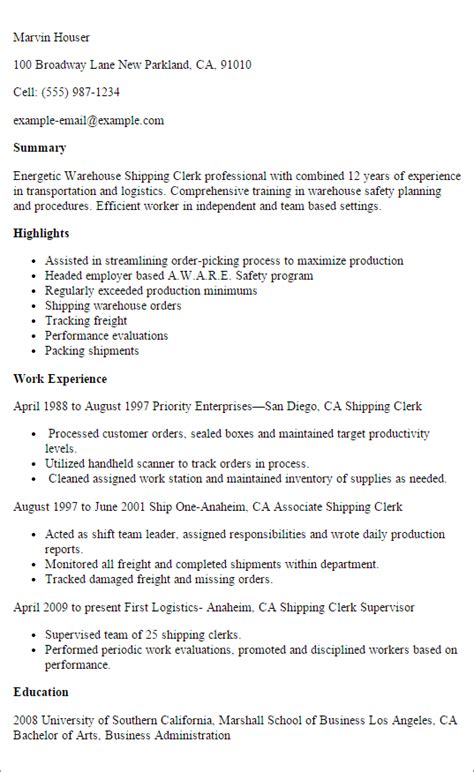 Shipping Clerk Resume by Professional Warehouse Shipping Clerk Resume Exle