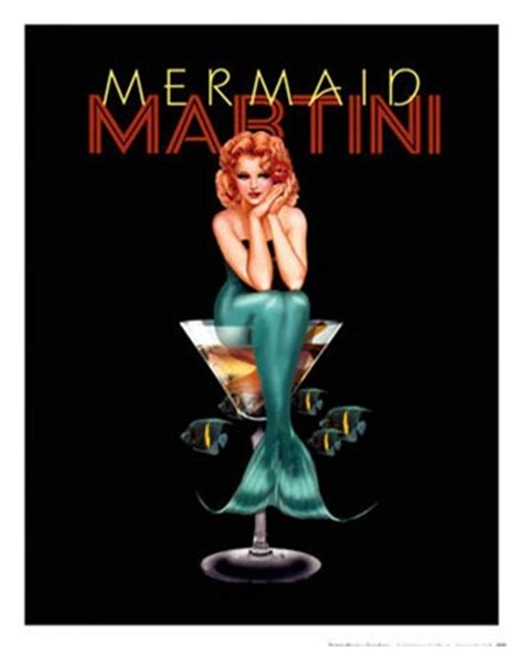 martini mermaid mermaid martini print vintage liquor and wine