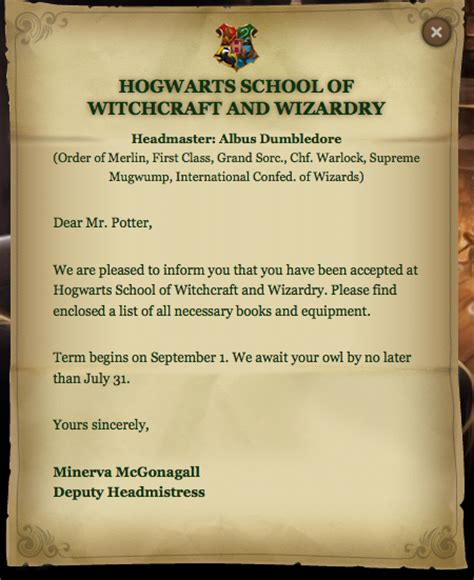 Acceptance Letter For Equipment Dear Mr Potter Harry Potter Vs Twilight Photo 24842120 Fanpop