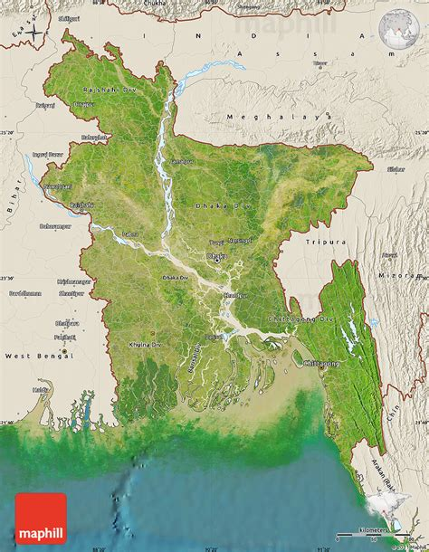 geographical map of bangladesh satellite map of bangladesh shaded relief outside