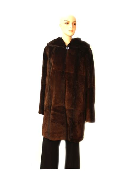 Jaket Rabbit Brown 511645 brown sheared rex rabbit fur stroller coat jacket with mink trim 16 ebay