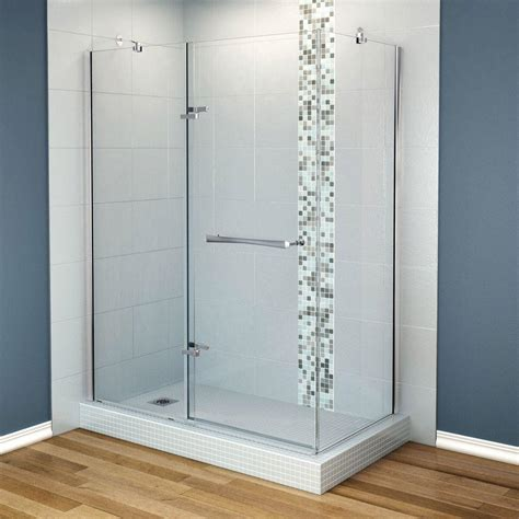 Maax Reveal Shower Door Maax Reveal 29 7 8 In X 60 In X 71 5 Corner Shower Enclosure With Chrome Frame And Clear Glass
