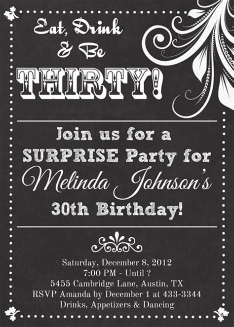 free birthday invitation templates for adults chalkboard look birthday invitation