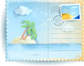 summer elements postcards vector 01 vector card free