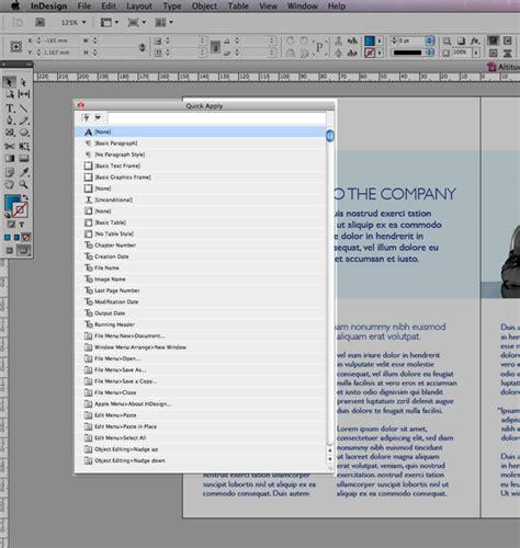 indesign quick tutorial quick tip using quick apply in indesign cs5