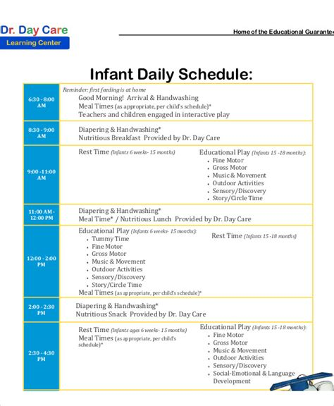 10 Daycare Schedule Templates Sle Exles Free Premium Templates Infant Schedule Template