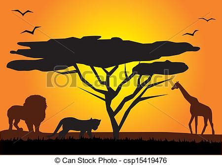 vector african landscape  animals