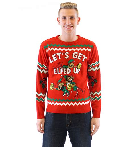 let s get elfed up drunken elves ugly christmas sweater