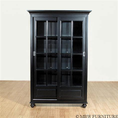 Black Cabinet Glass Doors Black Curio China Display Cabinet W 2 Sliding Glass Doors Mbc003 B F 443 32 Ebay