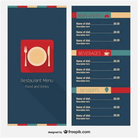 modern restaurant menu template vector free download