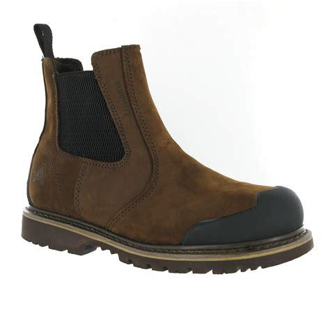 mens amblers waterproof brown leather safety steel toe cap