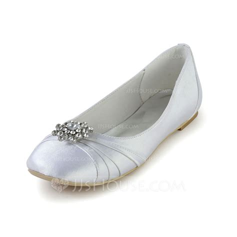 white satin flat shoes s silk like satin flat heel closed toe flats with