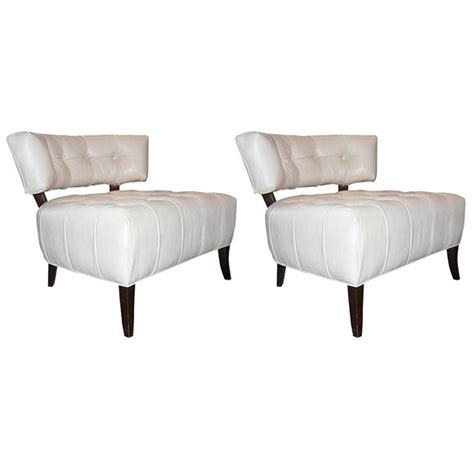 white slipper chairs pair of white leather slipper chairs attributed to billy