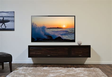 wooden floating media cabinet with 2 doors and shag rug in