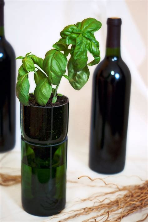 upcycled wine bottle hydroponic planter 20 00 via etsy