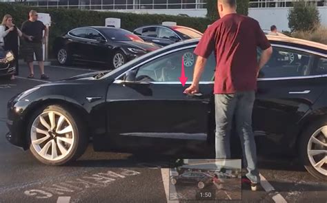 How Do You Open A Tesla Door Of Tesla Model 3 Production Car Appears To Show Self