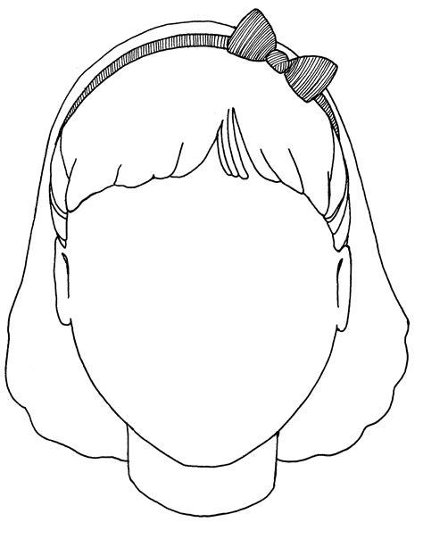 girl face outline clip art girl face template for kids clipart best