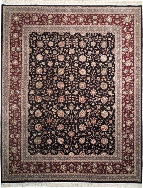 wool silk 8x10 rug all black burgundy ebay