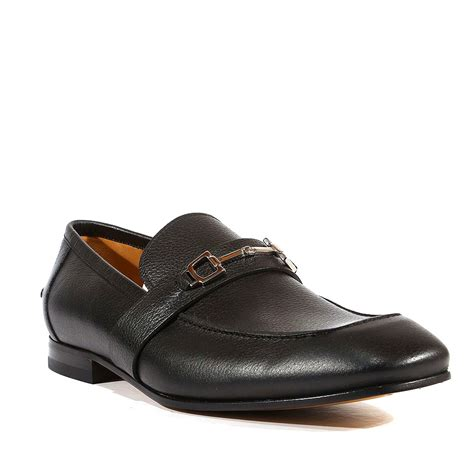 gucci shoes pebbled black leather loafers 253302 ggm1539