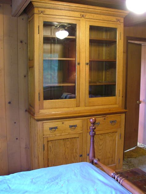 wooden oak china cabinet or cupboard from civil war era