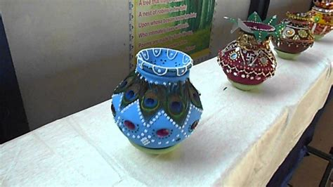 how to decorate a pot at home sehore blue bird school kalash decoration competition 1
