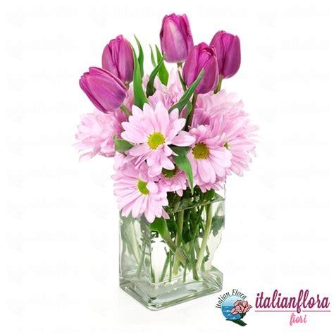 fiori the vendita composizione in vaso di tulipani e gerbere