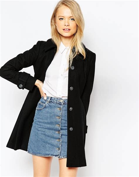 black dolly coat asos dolly skater coat with pleat detail in black lyst