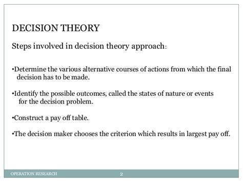 exle of theory decision theory with exle