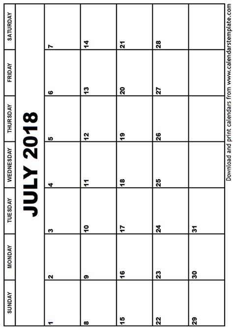 Kalender Juli 2018 July 2018 Calendar Template
