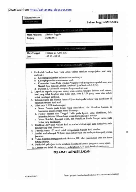 naskah soal un bahasa inggris smp 2013 paket 1 naskah soal un bahasa inggris smp 2013 paket 1