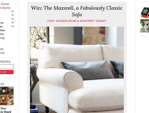 interior define interior define s quot the maxwell quot sofa sweepstakes