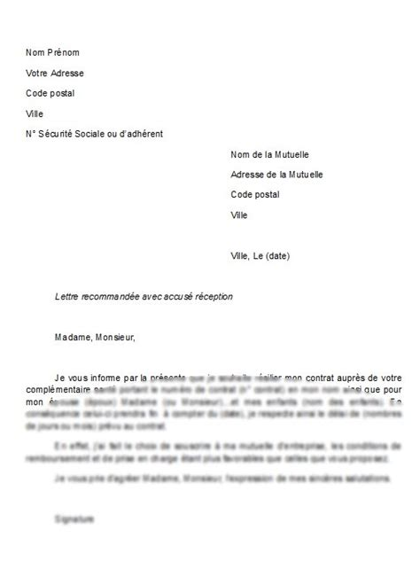 Resiliation Assurance Modele Lettre Type resiliation assurance modele lettre type pour r 233 siliation