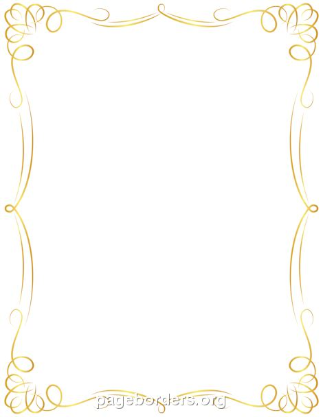 Border Gold printable golden border use the border in microsoft word