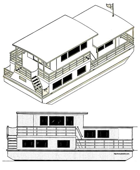 Houseboats Funboats Pontoon Boats Plans For U Houseboat Blueprints