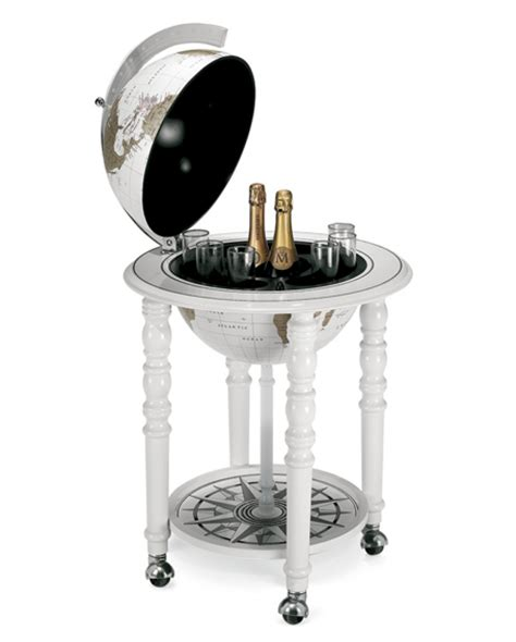 quot elegance quot bar globe on casters all white zoffoli store