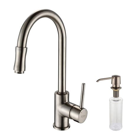Kitchen Faucets With Soap Dispenser Kraus Single Lever Pull Out Kitchen Faucet And Soap Dispenser Satin Nickel The Home Depot Canada