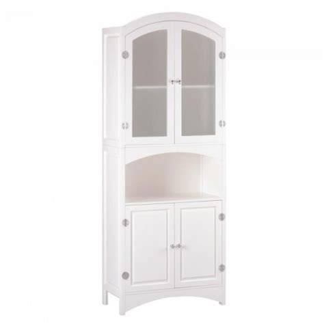 White China Cabinet With Glass Doors White Wood Linen Cabinet With Veiled Glass Doors Ebay